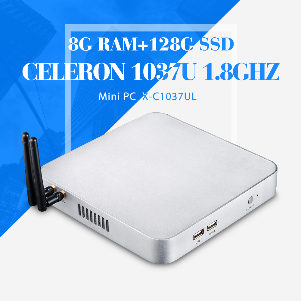 Mini Computer 2*RJ-45 C1037U 8G RAM 128G SSD with wifi Desktop Thin Client Office Networking Mini Host Window 7 /8 /8.1/Linux/XP(China (Mainland))