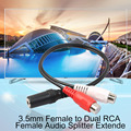 Practical Single 3 5mm Female to Dual RCA Female Audio Splitter Extender Splitter Cable Adapter Connectors