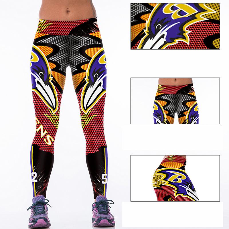 Woman Yoga Pants Fitness Fiber Sports Ravens Leggings Tights American football Trousers Exercise Training Clothing Sportswear(China (Mainland))