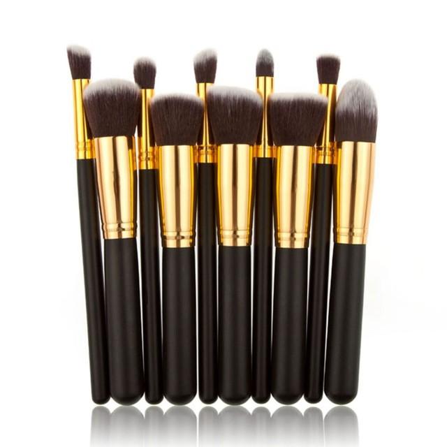 Высокое качество 10 шт. серебро и золото лица макияж румяна контур фундамент кисть ...