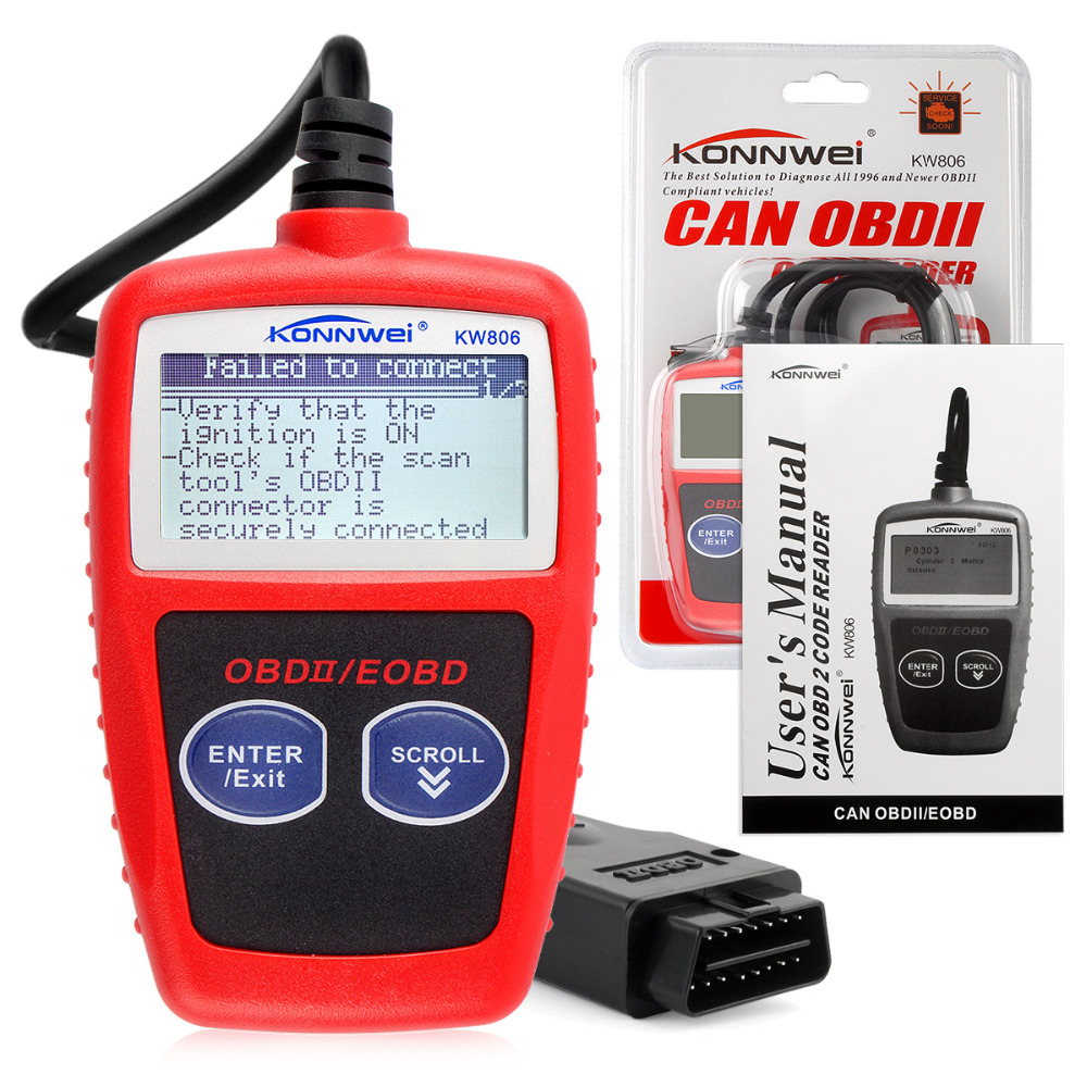 automotive scanner KW806 Car Code Reader CAN BUS OBD 2 OBDII Diagnostic Scanner Tool Auto scan tool(China (Mainland))