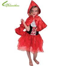 Girls Halloween Costumes Little Red Riding Hood Dress Cosplay Stage Wear Clothing Sets Kids Party Fancy Ball Clothes Free Ship