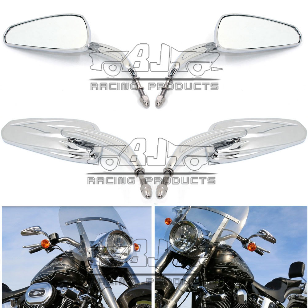 RM400-014-CR Motorcycle Rearview Rear Side Mirror Handle Bar End Mirrors Oval Harley Bike