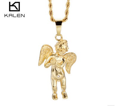 Italian 18k gold plated Angel with wings pendant necklace for men from China stainless steel jewelry supplier(China (Mainland))