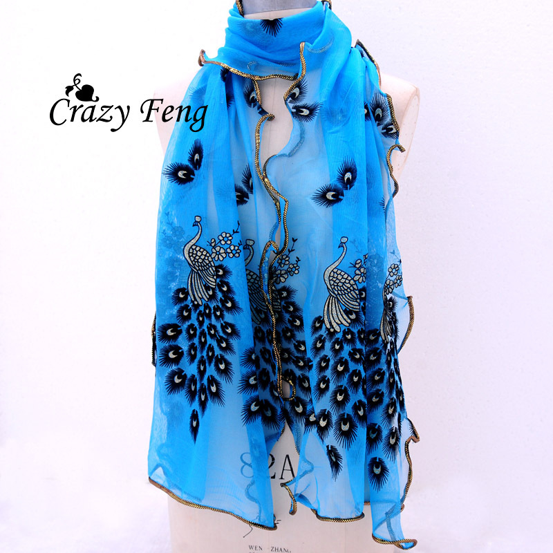 Hottest Fashion New Women's 7 Colors handmade lace peacock scarves Chiffon Scarf Long Soft Wrap Shawl Stole Gift Free shipping(China (Mainland))