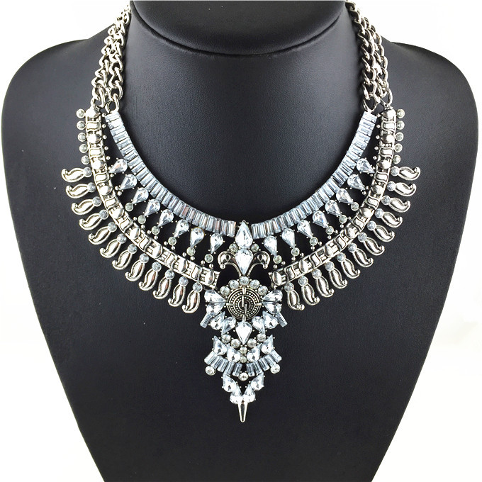 2015 Hot New Fashion Vintage Necklaces & Pendants Big Collar Necklace Gold Necklace Crystal Jewelry Statement Necklace(China (Mainland))