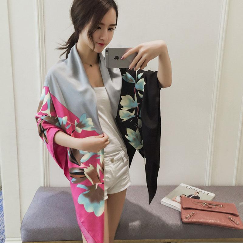 2016 New Brand Flowers Printing Silk Scarf Women 130x130CM Pashmina Cape Scarves Z-2917()