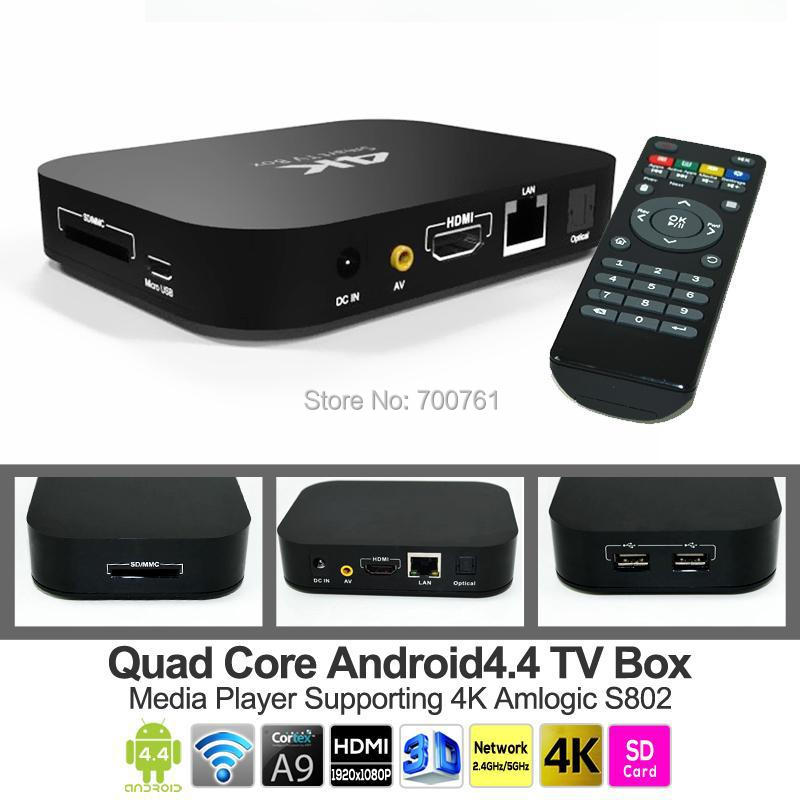Amlogic S802 Quad core Android 4.4 TV box 2GB 8GB 4K H.264 XBMC WIFI Bluetooth 1080p media player(China (Mainland))