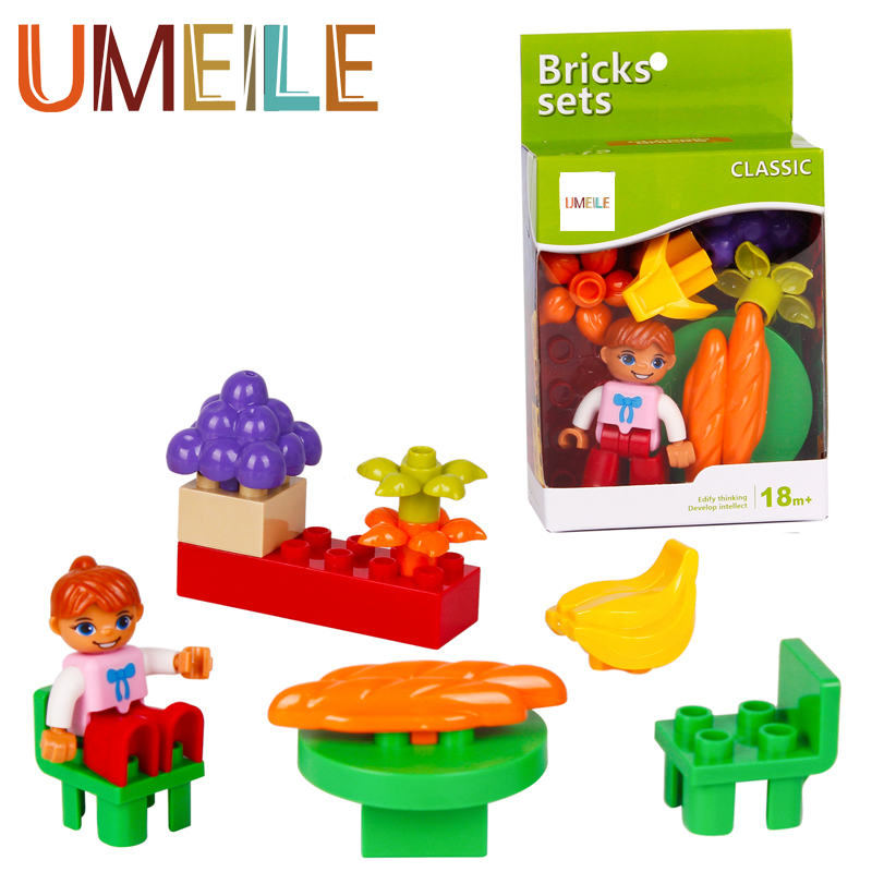 UMEILE Original Classic Duplo Block 12Pcs/set City Girl Figure Princess Flower Tables Chairs Toys Compatible with Legoe Duplo(China (Mainland))