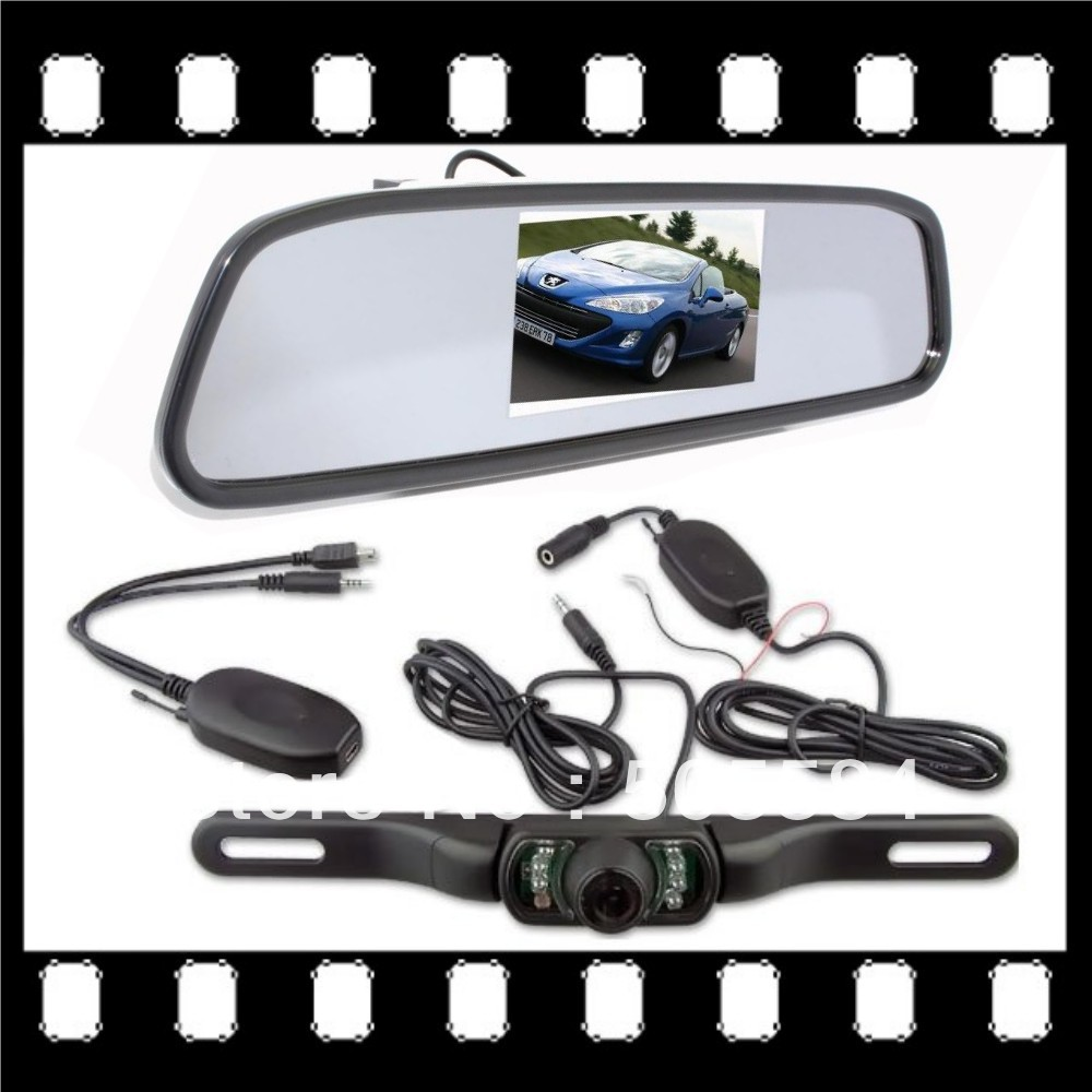 4.3 inch car rearview mirror system with wireless car license plate parking camera IR night vision for Auto Rear reverse backup(China (Mainland))
