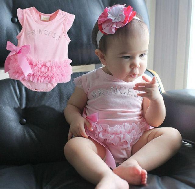 Детей детские девочки принцесса одежда розового кружева с бантом комбинезон боди ...
