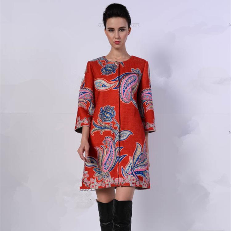 New 2015 womens autumn winter Windbreake flowers prints vintage trench coat Elegant designer loose outwear plus size D4633Одежда и ак�е��уары<br><br><br>Aliexpress
