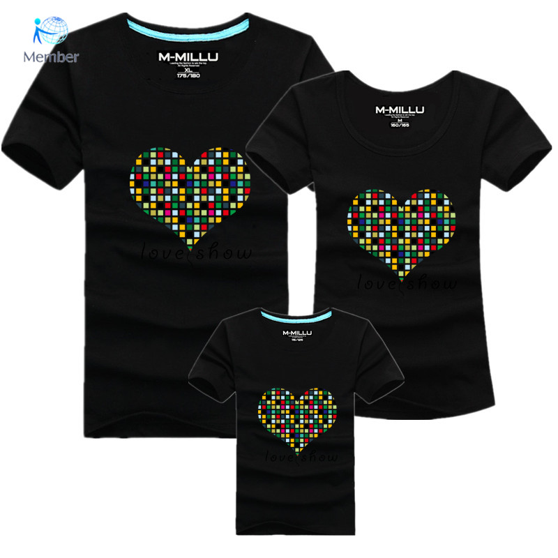 Family Matching boys T shirts for font b women b font Short sleeved cotton round neck