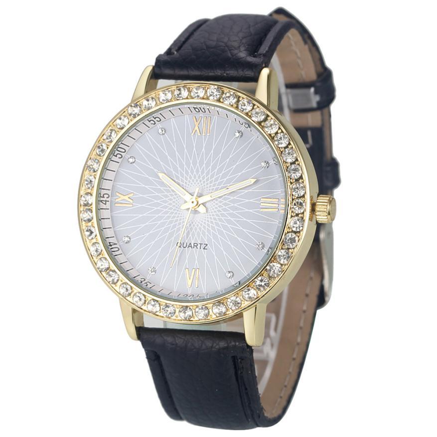 Attractive Colorful Hot sale 2015 Fashion Women Diamond Analog Leather Quartz Wrist Watch Watches SP25(China (Mainland))