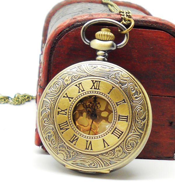 dropship 2013 russian bronze vintage big round golden face roman fashion quartz pocket watch - Most success (HongKong store Limited)