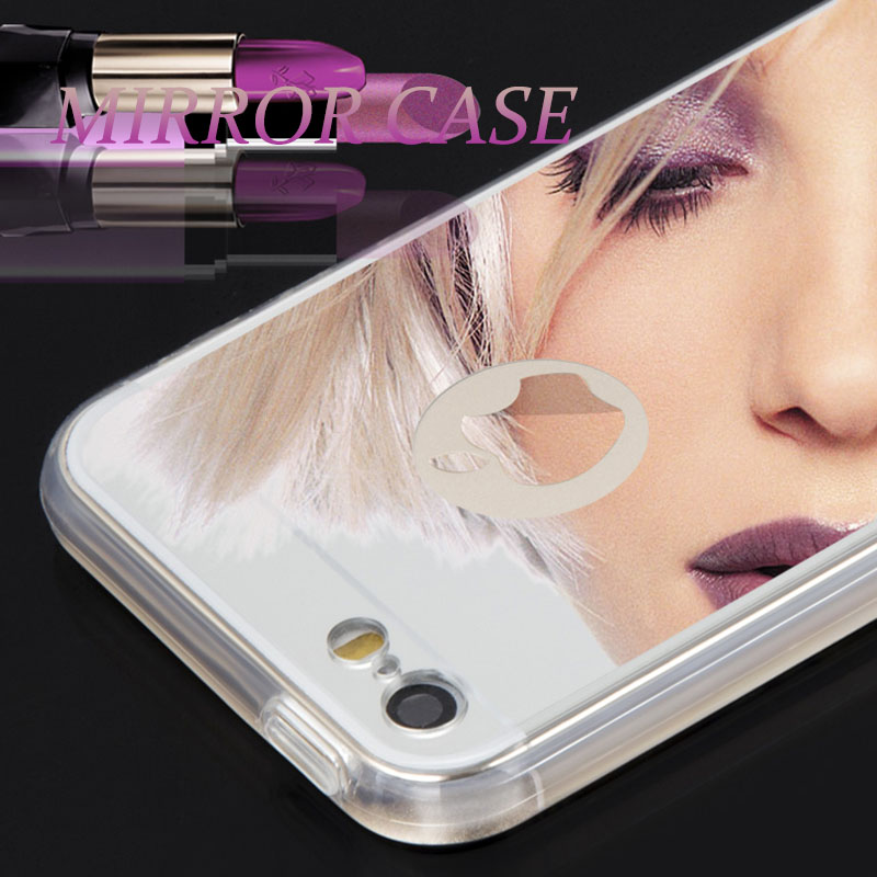 2016 Discount Luxury Gold Mirror Case For Iphone 5 5S 6 6S Plus 5.5 Clear TPU Edge Ultra Slim Flexible Cover Phone Accessories(China (Mainland))