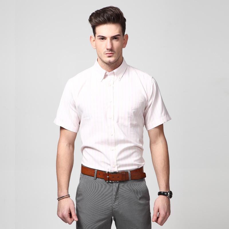 Men Shirt 2015 Brand Short Sleeve Shirts Social Plaid