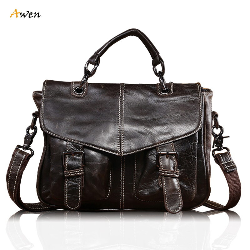 Awen Classic Men's Genuine Cowhide Retro Style Messenger Bag Brown Cow Leather Belt Buckle Handbag Attache Briefcase Laptop Bag(China (Mainland))