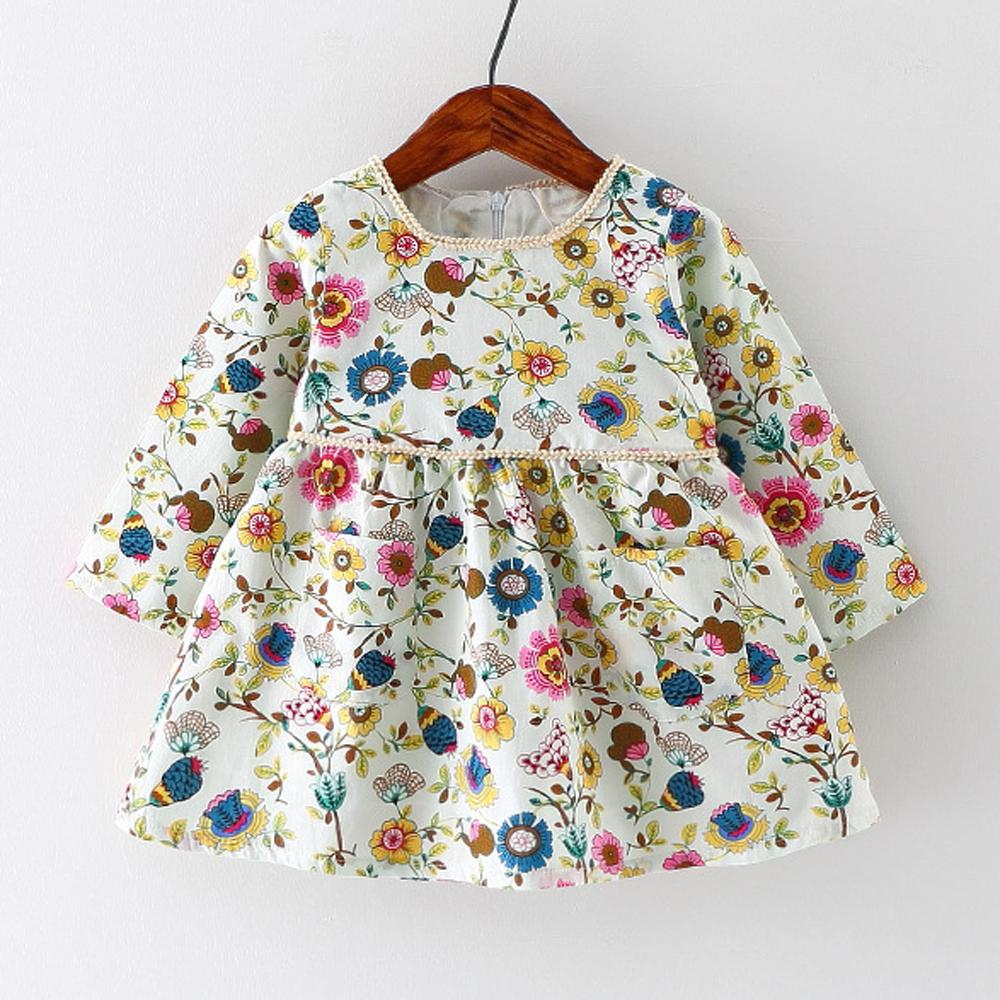 Autumn Baby Girl Dress Cotton Infant Dress Floral Print ...