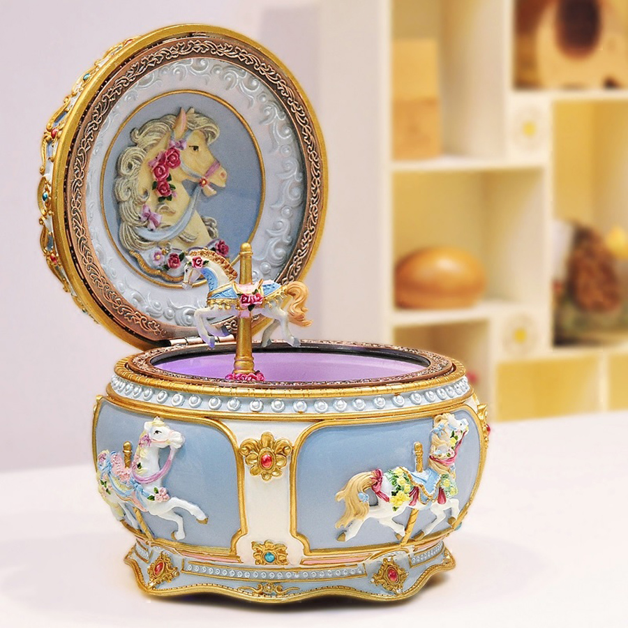 2016 New Carousel Music Box with Sound Control LED Flash Lights Creative Birthday Valentine's Day Gifts for Girl Friend Kids(China (Mainland))