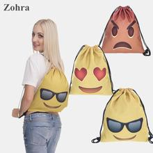 Emoji 3D printing Women's Men's Gym Bags Handbag String Daypack mochila feminina bolso de lazo Travel drawstring bag backpacks