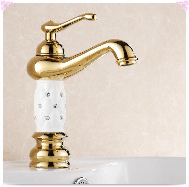 Gold Diamond White & Black Lantern Brass Bathroom Vanity Sink / Basin Crane / Torneira Batedeira Faucet Mixer Tap (HJ-815K) wash(China (Mainland))