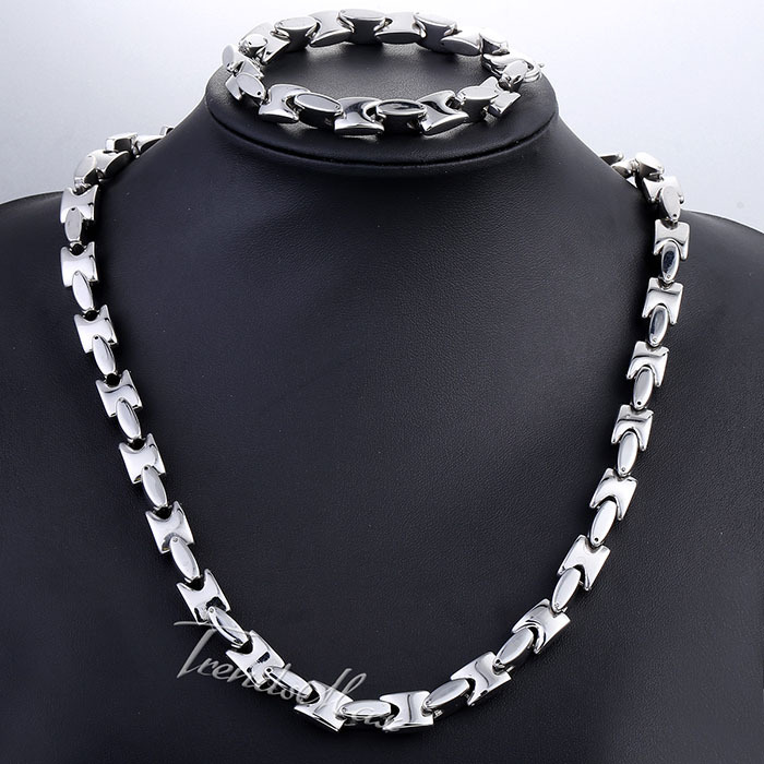 Jewelry Set 10mm Wide Heavy Mens Chain Boys Silver/Gold Silver Tone Square Bead Link Stainless Steel Necklace Bracelet KS193<br><br>Aliexpress