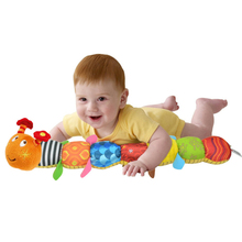 New Arrival Caterpillar Baby Toy Music Early Educational Baby Rattles Stuffed Ring Bell Cartoon Animal Soft Plush Doll(China (Mainland))
