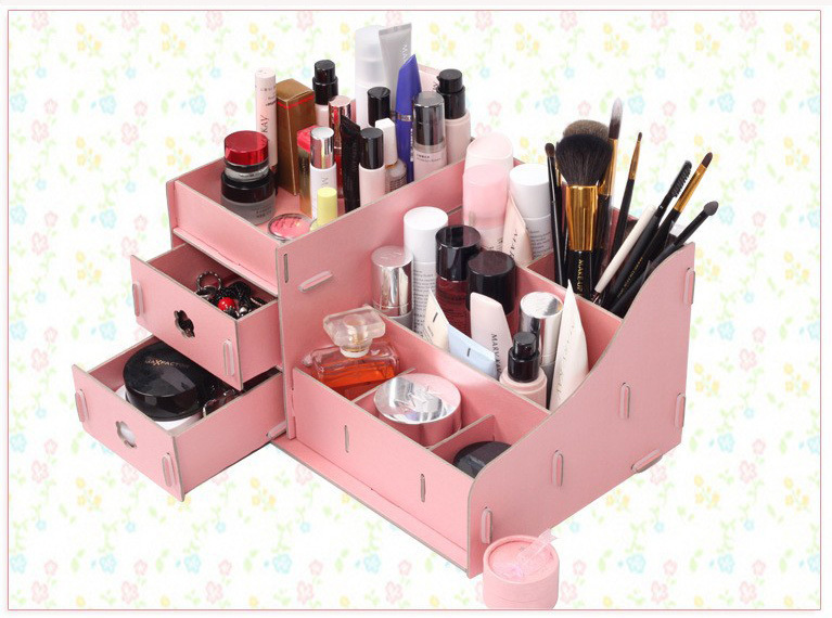 High quality Large cosmetics papery storage box drawer DIY zakka jewelry cosmetics receive a case makeup organizer Ikea style(China (Mainland))