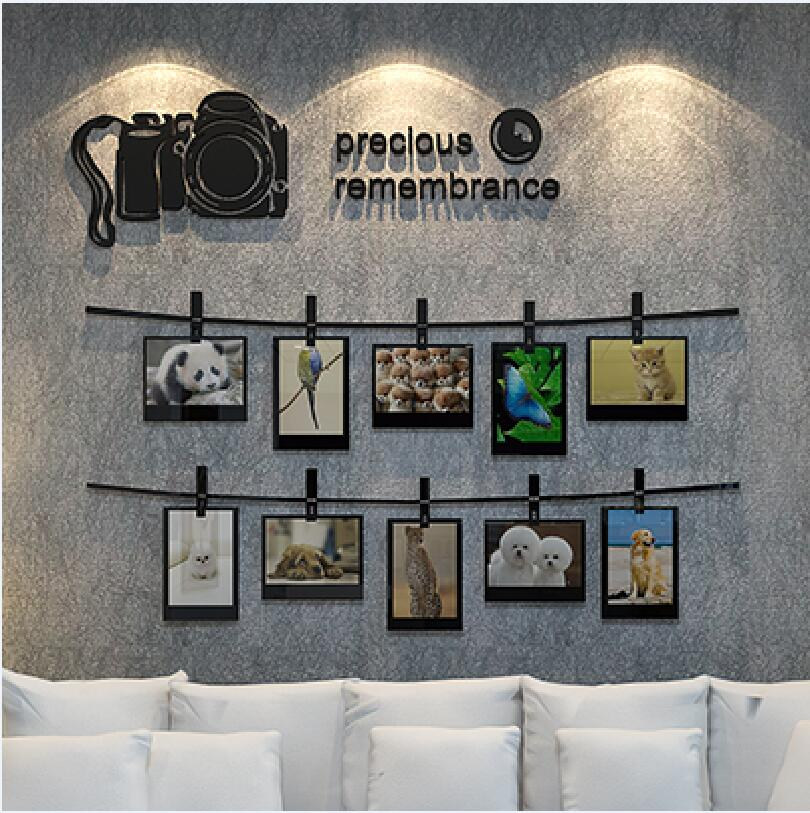 2017 New Arrival SLR camera memories 3D wall stickers Photo wall living room sofa decorated bedroom Acrylic stickers Art Deco(China (Mainland))