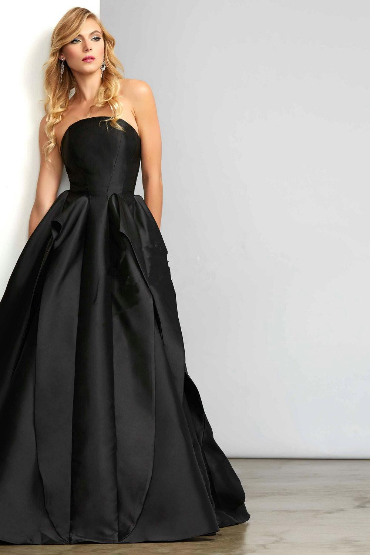 Plain long black strapless dress - Dress on sale