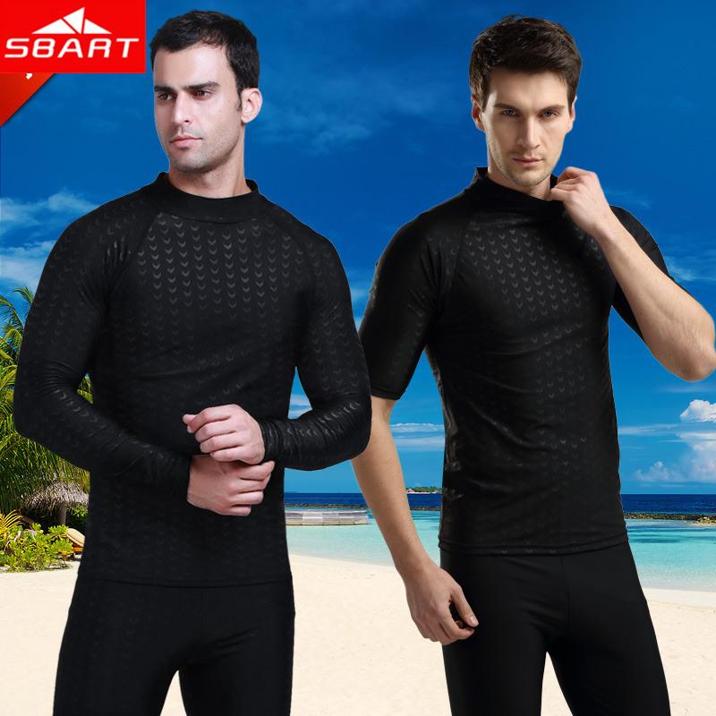 SBART Lycra Surf Rashguard Men Top Sharkskin Waterproof Long Sleeve Swimsuit Sunscreen Rash Guard Swim Surf Shirt Rushguard O702