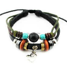 B332 Love Heart Fashion Woman/Man's Handmade Real Leather Bracelet Surfer Hemp Charm Bracelet Cuff 3 Colors Unisex Free Shipping(China (Mainland))