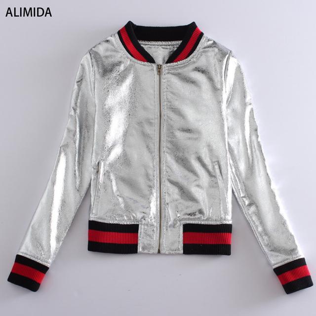 AliСреднийa 093 2016 впп куртка женская высокое качество новинка нью-bling серебряный ...