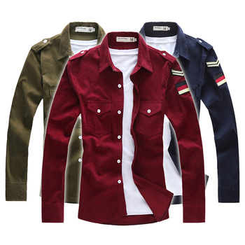 Corduroy embroidered logo all-match long-sleeve shirt military shirt best brand checked dress shirts for men designer