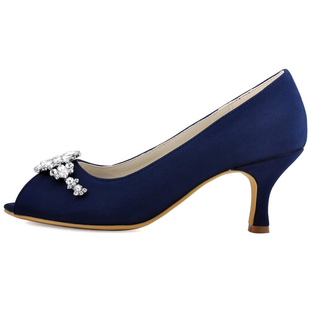 Navy Blue Peep Toe Shoes High Heels