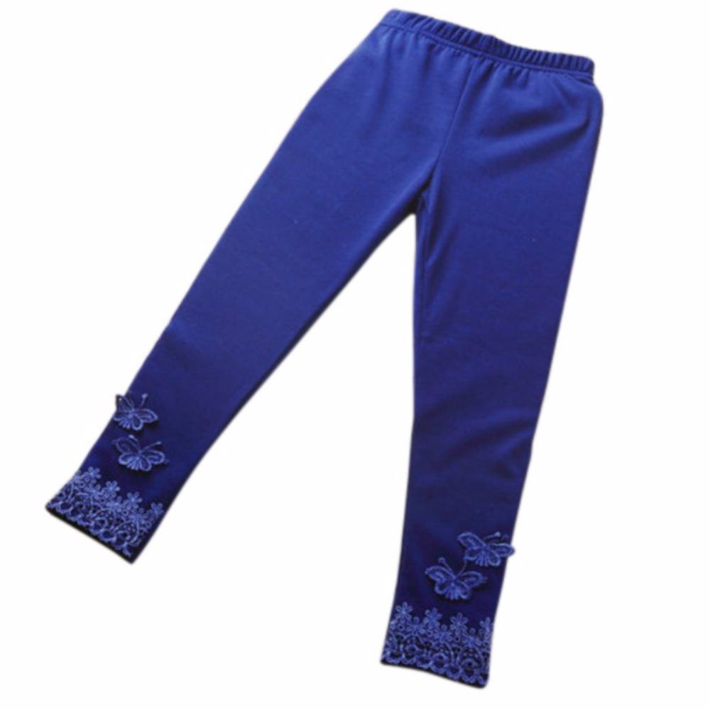 Kid Baby Butterfly Lace Warm Pants Girl Stretchy Leggings Trousers Toddler Tight