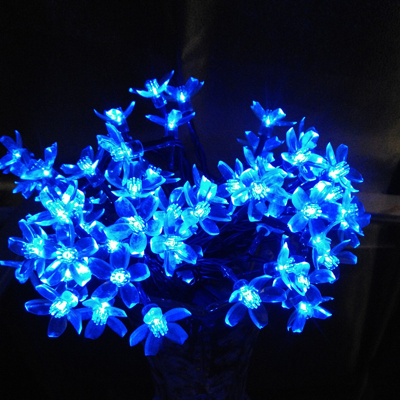 7M 50 LED Outdoor Solar Festival Birthday 2017 Christmas Decoration Lamp Cherry Blossom Wedding Flower Solar Fariy String Light(China (Mainland))