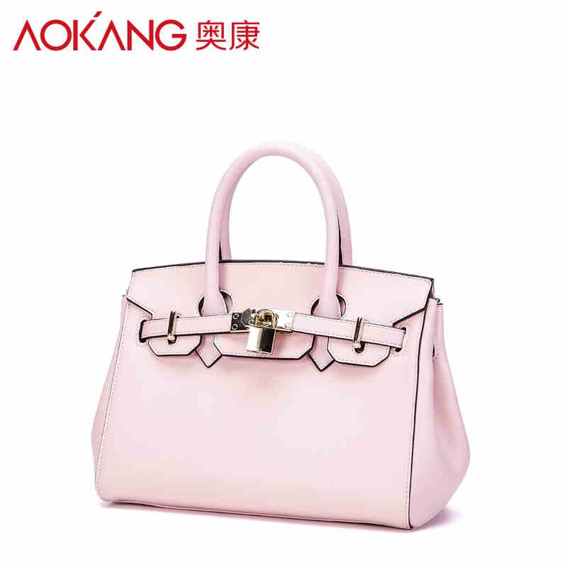 AOKANG 2016 New ladies split leather material Casual Tote bags special design shoulder bags black pink women's handbags(China (Mainland))