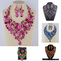 Statement necklace For bridal wedding jewelry sets Rose flower Fuschia blue color rhinestone jewelry set For
