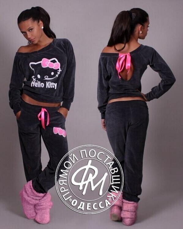 JY.2015New Women Hello Kitty Printed Velvet Sweatshirts 2pcs/Sets Hoodies Pullover Tracksuits Sweatshirt and Pants Plus Size XXL(China (Mainland))