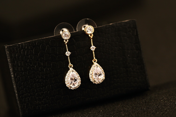 Bridal Earrings Cubic Zircon Teardrop Earrings Long Dangle Earring Copper Material Wedding Jewelry For Bridesmaid Gold filled(China (Mainland))