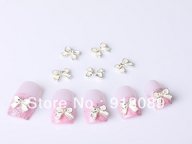 Item / Nails Supply, 53D Alloy White Bowtie DIY Acrylic Design/ Art, Unique Gifts - Hill Chow's store