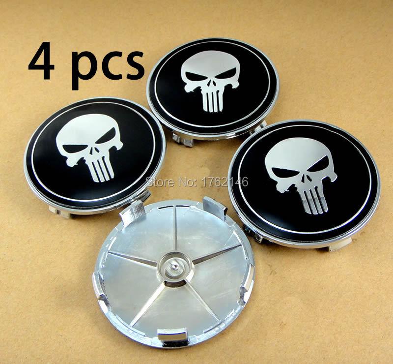 Set of 4 pcs 68mm Car Skull Wheel Center Emblem For E46 E90 E60 E82 E89 Wheel Caps Emblem Badge(China (Mainland))