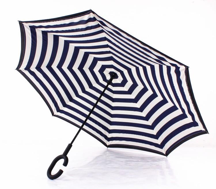 Navy Stripe Inverted Umbrellas C-shape J-shape Handle Waterproof Double  Layer Reverse Car Umbrella Paraguas Rain Umbrella - us613 0a6c5471006c