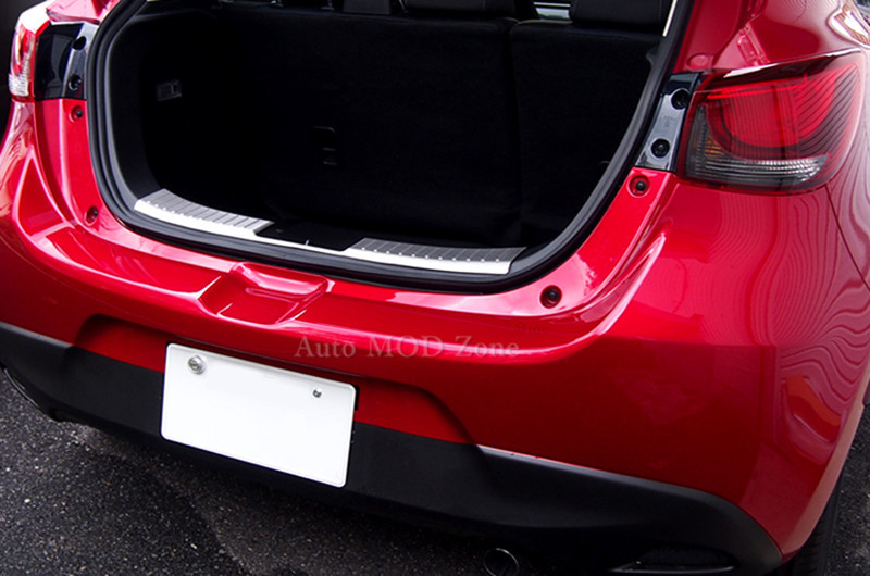 For 2015 2016 Mazda 2 Demio Stainless Glossy Chrome Car Inner Rear Bumper Guard Plate Cover Trim 1pcs(China (Mainland))