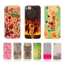 Cartoon Soft TPU Case Rubber Silicon For Apple iPhone 5 5G 5S / 5SE 4.0″ Flower Printed Cover Protective Phone Cases