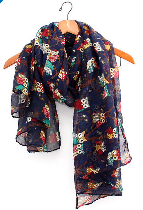 2014 fall fashion women scarves animal printed owl scarf cute scarf owl with branch voile long shawl navy blue(China (Mainland))