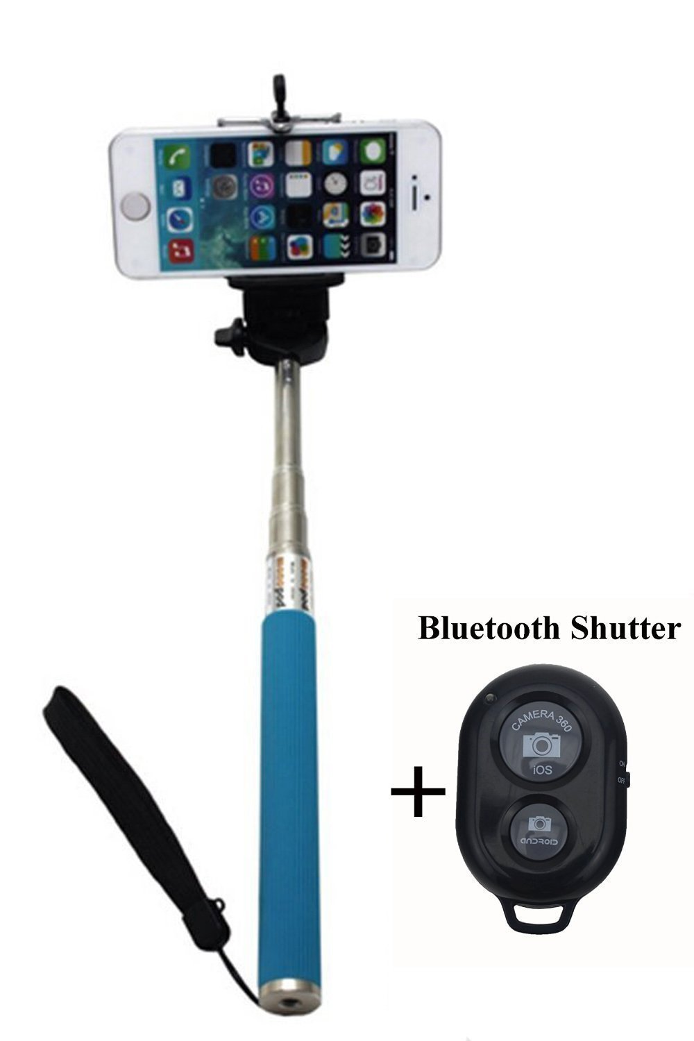 zp 05 k extendable selfie handheld stick monopod with adjustable phone holder and bluetooth. Black Bedroom Furniture Sets. Home Design Ideas