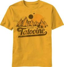 Star Wars Welcome to Tatooine Men's Gold Yellow T-Shirt tee tops short sleeve(China (Mainland))